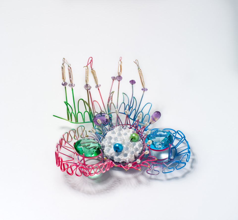 Object Number : L4840/1 Artwork, 'Arcadian Brooch', sterling silver / pure gold / stainless steel /cotton / glass / crystal / pearl / amethyst / ametrine / synthetic polymer silicone / paint, by Stephen Gallagher, Australia, 2010 Love Lace objects in studioi